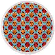 Ladybug Pattern In Orange And Red Round Beach Towel