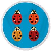 Ladybug Quartet Round Beach Towel