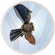 Round Beach Towel featuring the photograph Lafayette Square Buffalo - Tiny Planet by Chris Bordeleau