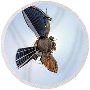 Lafayette Square Buffalo - Tiny Planet Round Beach Towel