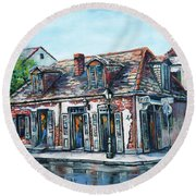 Lafitte's Blacksmith Shop Round Beach Towel