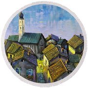 Round Beach Towel featuring the painting Lago   Caldonazza by Mikhail Zarovny