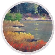 Round Beach Towel featuring the painting Lagoon by Nancy Merkle