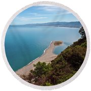 Lagoon Of Tindari On The Isle Of Sicily  Round Beach Towel