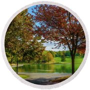 Lagoon Park In Montreal Round Beach Towel