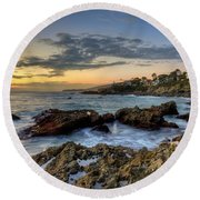 Laguna Beach Coastline Round Beach Towel by Eddie Yerkish