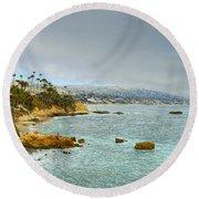 Laguna Beach Coastline Round Beach Towel