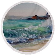 Round Beach Towel featuring the painting Laguna Beach North View by Sandra Strohschein