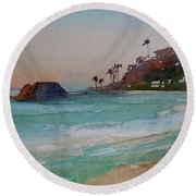 Round Beach Towel featuring the painting Laguna Beach Plein Air by Sandra Strohschein