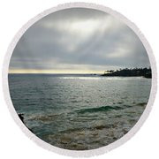 Round Beach Towel featuring the photograph Laguna Beach Sunset by Glenn McCarthy Art and Photography