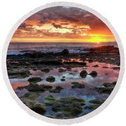 Laguna Beach Tidepools At Sunset Round Beach Towel