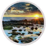 Laguna Beach Tidepools Round Beach Towel by Eddie Yerkish