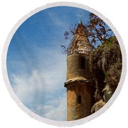 Round Beach Towel featuring the photograph Laguna Beach Tower by Glenn McCarthy Art and Photography