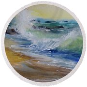 Round Beach Towel featuring the painting Laguna Beach Wave South View by Sandra Strohschein