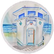 Laguna Lifeguard Tower Round Beach Towel