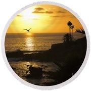 Laguna Sunset Round Beach Towel