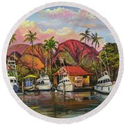 Lahaina Harbor Sunset Round Beach Towel