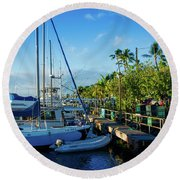 Round Beach Towel featuring the photograph Lahaina Marina Blue Twilight by Sharon Mau