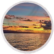 Lahaina Sunset Panorama Round Beach Towel