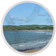 Round Beach Towel featuring the photograph Lahinch Beach by Terence Davis