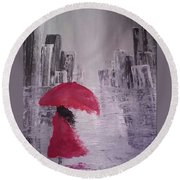 Round Beach Towel featuring the painting Laidy In The City Abstract Art by Sheila Mcdonald