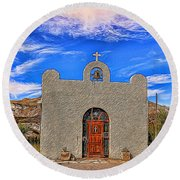 Lajitas Chapel Painted Round Beach Towel