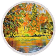 Lake Aerofloat Fall Foliage Round Beach Towel