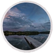 Lake Alvin Supercell Round Beach Towel