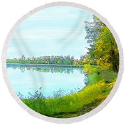 Lake And Woods Round Beach Towel
