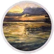 Round Beach Towel featuring the painting Lake by Arturas Slapsys