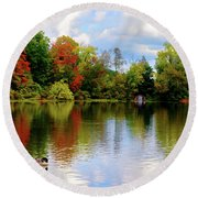 Lake At Forest Park Round Beach Towel