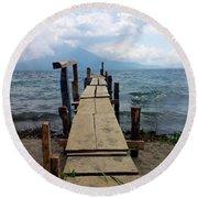 Lake Atitlan Dock Round Beach Towel