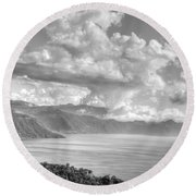 Lake Atitlan Guatemala Round Beach Towel