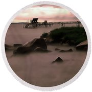 Round Beach Towel featuring the painting Lake Balaton Painting by Odon Czintos