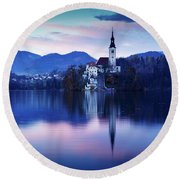 Lake Bled And The Island Church Round Beach Towel
