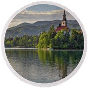 Round Beach Towel featuring the photograph Lake Bled Morning #2 - Slovenia by Stuart Litoff
