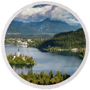 Round Beach Towel featuring the photograph Lake Bled Pano by Brian Jannsen