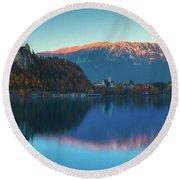 Lake Bled Panorama Round Beach Towel