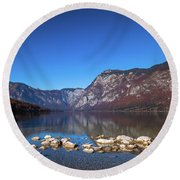 Round Beach Towel featuring the photograph Lake Bohinj by Davor Zerjav