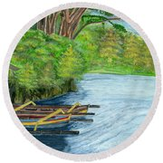 Round Beach Towel featuring the painting Lake Bratan Boats Bali Indonesia by Melly Terpening