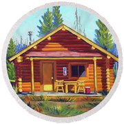 Lake Cabin Round Beach Towel