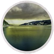 Round Beach Towel featuring the photograph Lake Coeur D' Alene by Jeff Swan