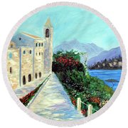 Round Beach Towel featuring the painting Lake Como Colors  by Larry Cirigliano