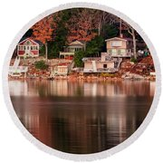 Lake Cottages Reflections Round Beach Towel