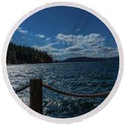 Lake Courd'lane Round Beach Towel by Nancy Marie Ricketts