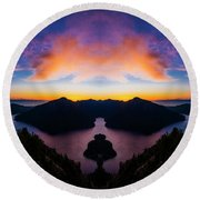 Lake Crescent Reflection Round Beach Towel
