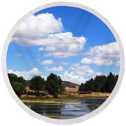 Lake Cuyamac Landscape And Clouds Round Beach Towel