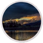 Lake Dillon Stormy Sunset Round Beach Towel