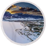 Round Beach Towel featuring the photograph Lake Dillon Sunset by Sebastian Musial