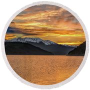 Lake Dillon Sunset Round Beach Towel